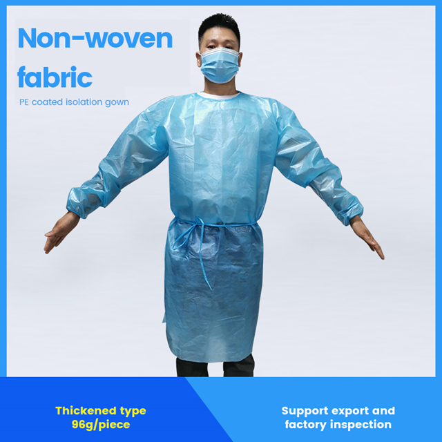 Non-woven fabric PE coated isolation gown