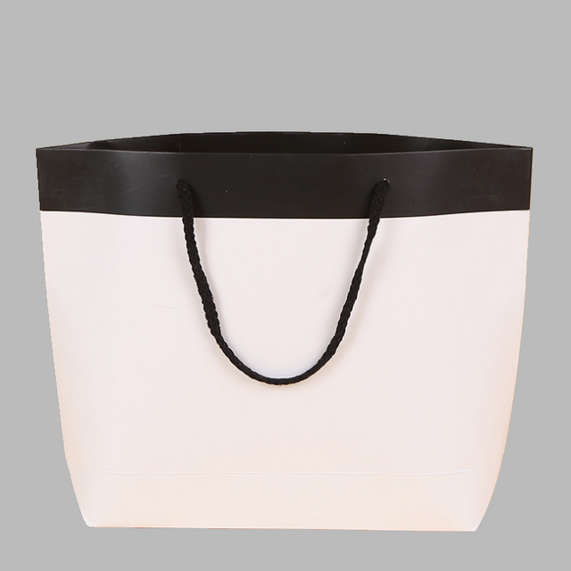 Black And White Ship Shaped Luxury Custom Shopping Paper Bag With Bottom Gusset