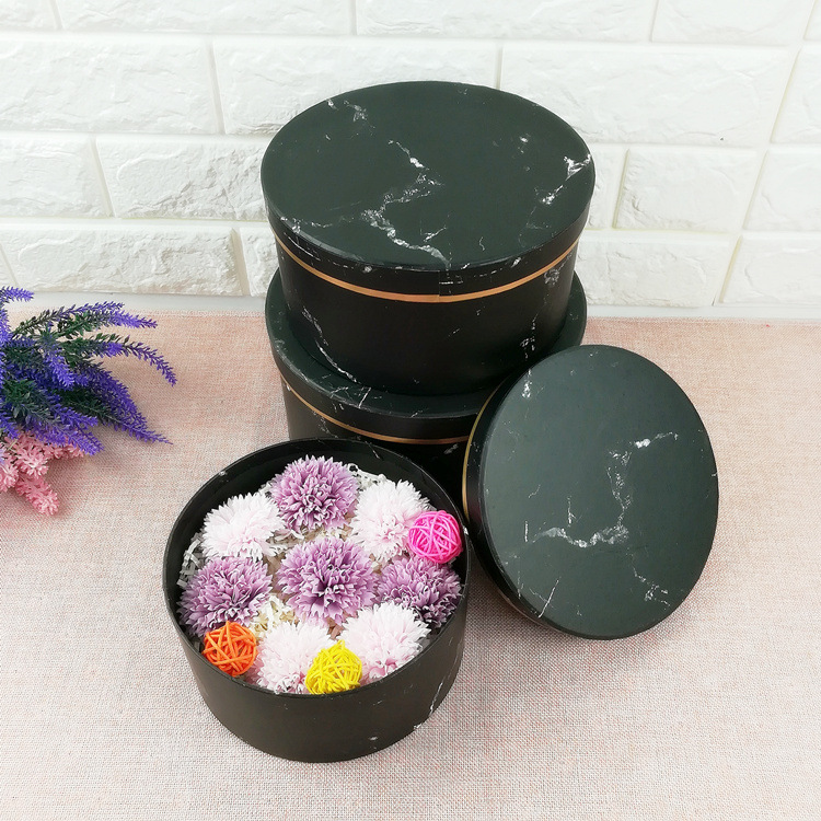 Chinese Wholesale Marble Hot Stamping Cardboard Round Flower Box