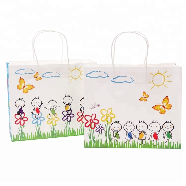 China Supplier Custom Print Children's Kindergarten Lovely Birthday Paper Bag,Gift Packing Bag