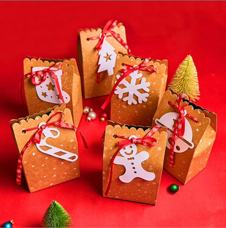 Wholesale Factory Custom Kraft Paper Christmas Paper Candy Box, Biscuits Boxes For Candy