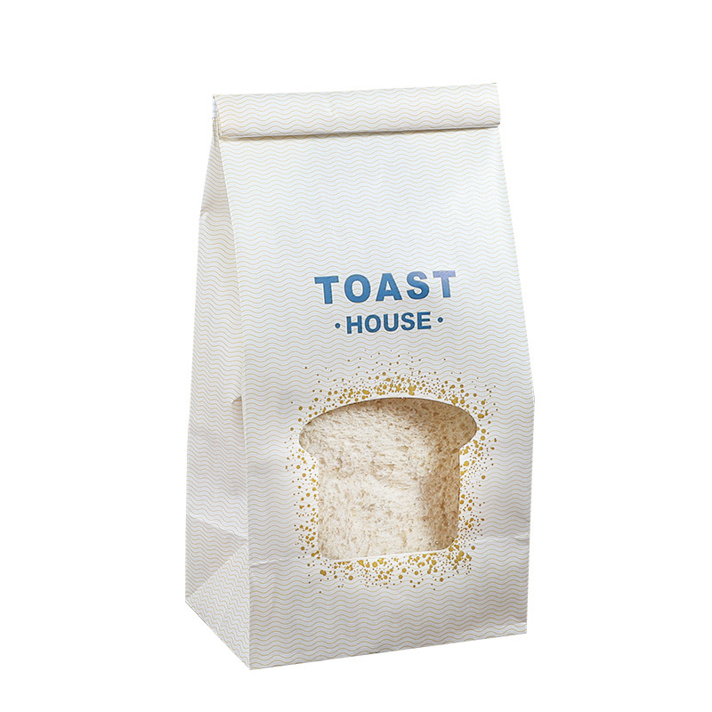window opening and film covering bread packaging bag with sealing strip
